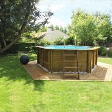 Сглобяем басейн дървена облицовка - кръгъл Gre sunbay